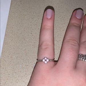 pink flower pandora ring